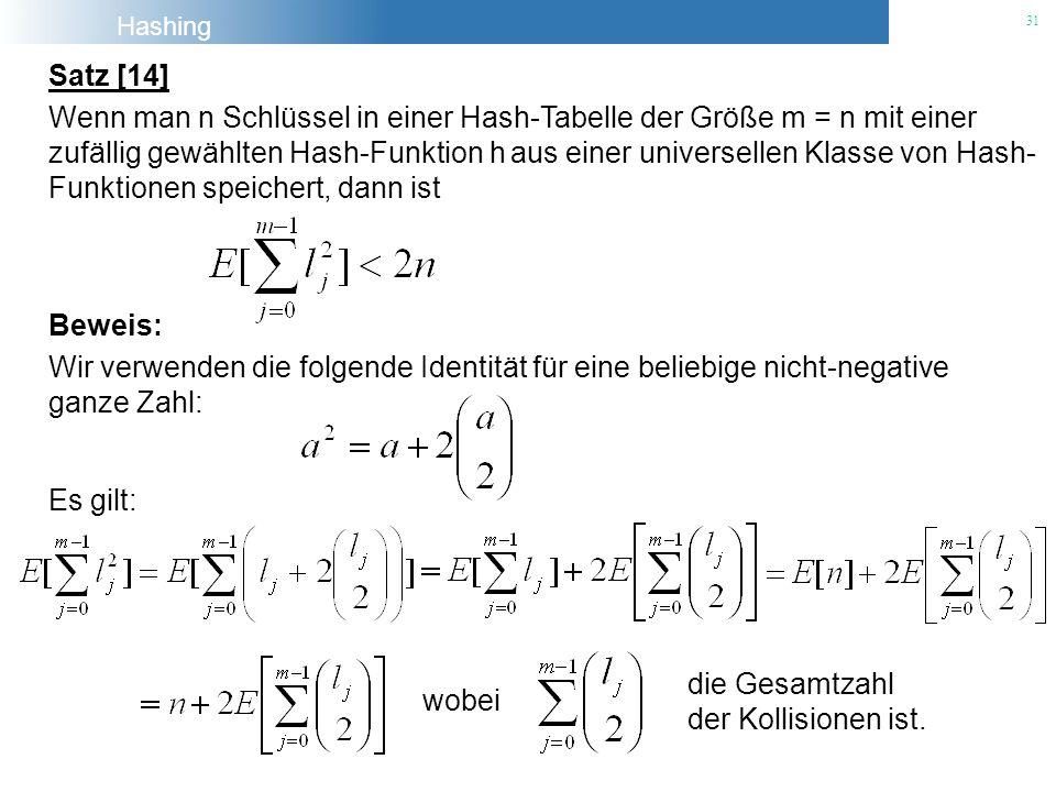 Satz [14] Wenn man n Schlüssel in einer Hash-Tabelle der Größe m = n mit einer.
